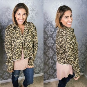 Short and Sassy Leopard Denim Jacket