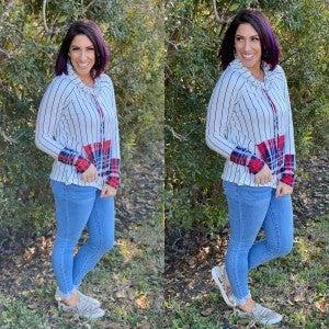Plaid Cowl Neck Pullover