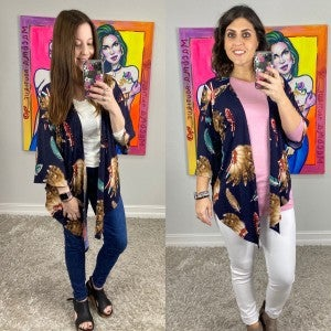 Indian Print Kimono with Front Tie Option