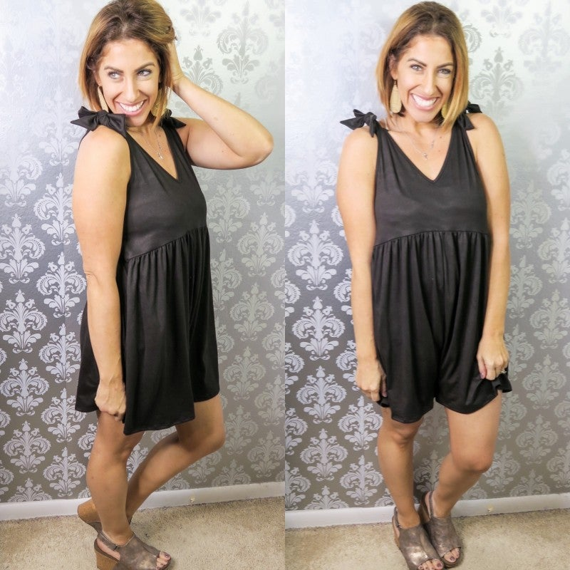 Bows Before Hose Romper Black