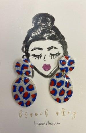 Red White Blue dangle earring