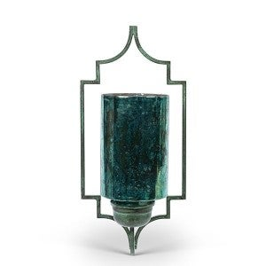 Green glass wall sconce