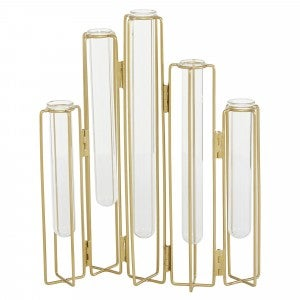 Folding metal Tube Vases Gold and glass