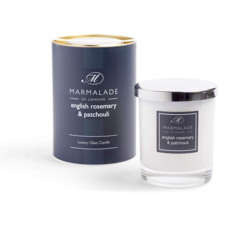 English Rosemary & Patchouli Luxury Glass Candle 8oz