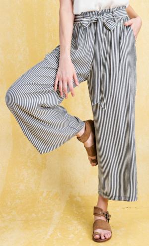 Stripe tie waist pant