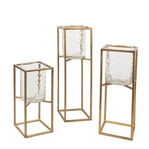 Gold Square candle holder with glass