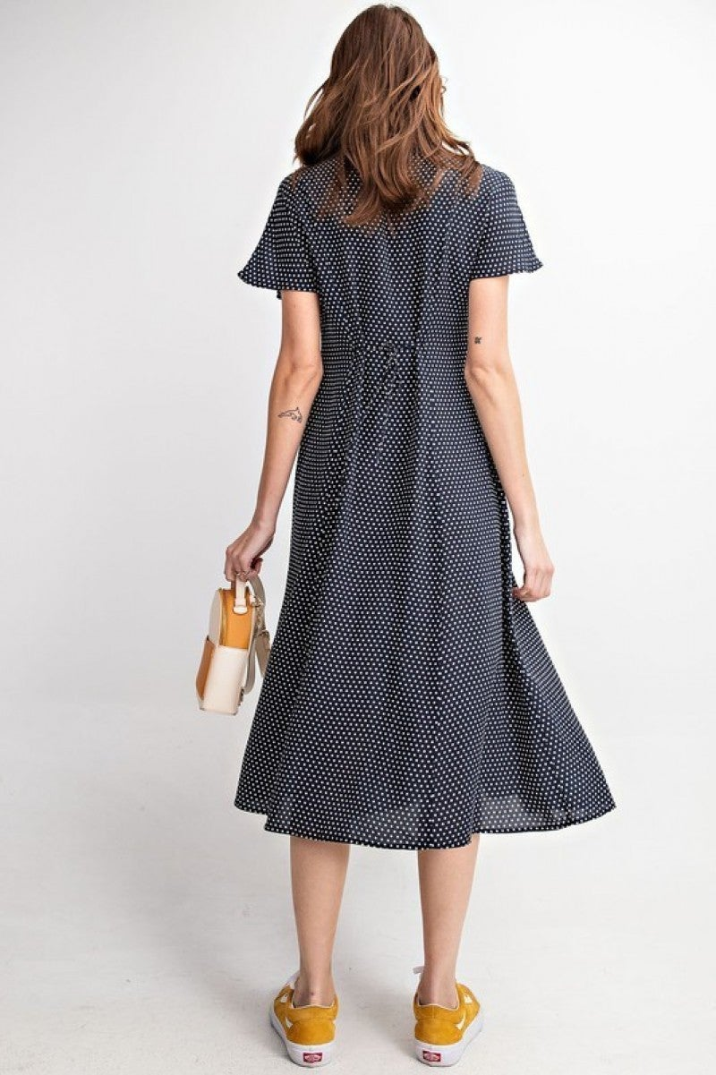 Navy Wing Polka Dot Dress *Final Sale*