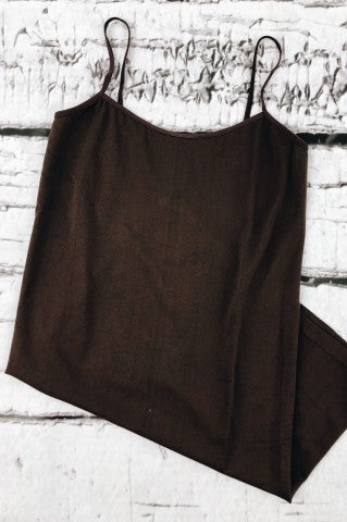 Simply Basic Plus Size Slip - Brown