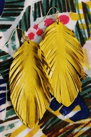 The Ava Feather Earrings - Mustard