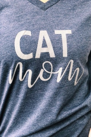 Cat Mom Tee - Navy