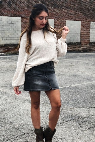 Mini Zip Denim Skirt