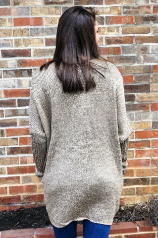 Old School Knit Cardigan - Heather Khaki