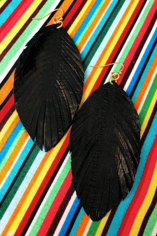 The Ava Feather Earrings - Black