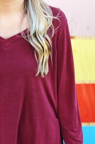 Solid Split Top- Marsala
