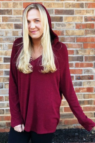 Keep It Casual Pullover - Burgundy