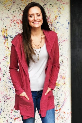 The Double Cardi- Burgundy