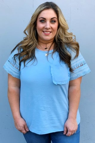 The Ruffle Pocket Top Plus- Blue
