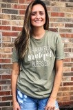 Thankful Grateful Blessed Tee - Olive