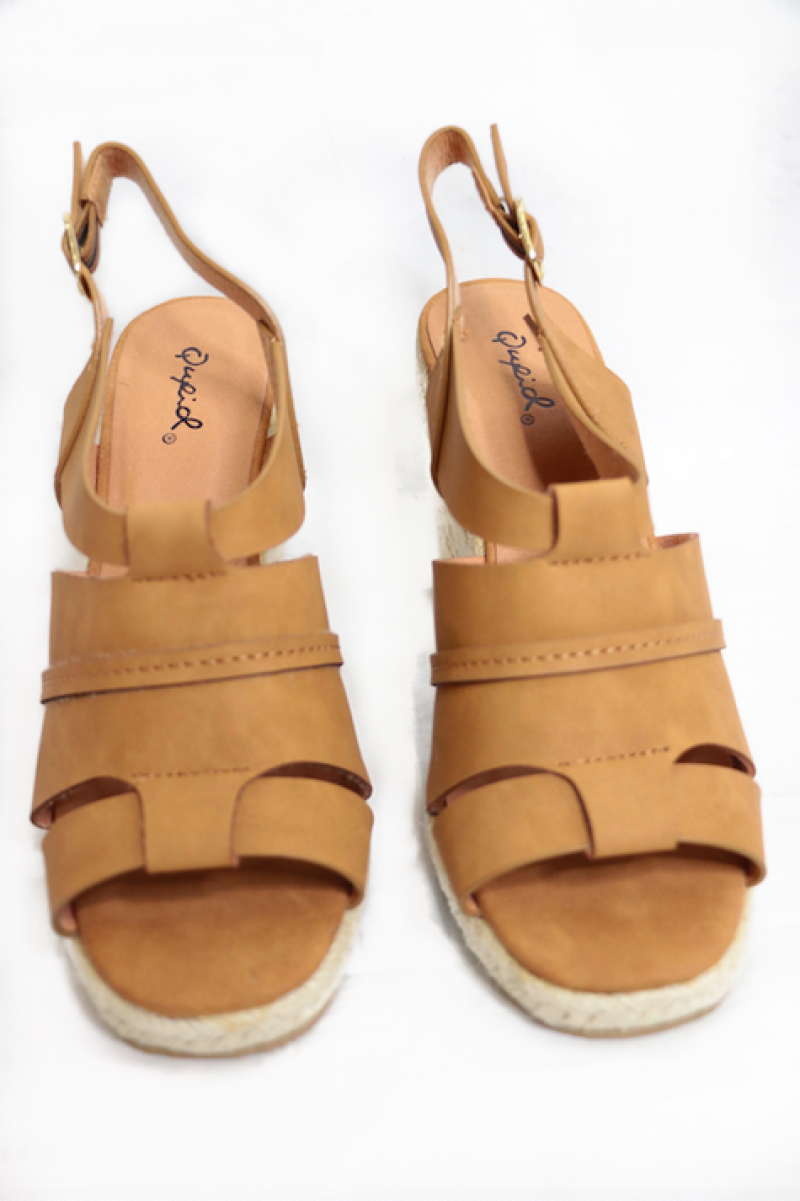 The Jolee Peep Toe Ankle Strap Wedge Sandal In Tan - Sizes 5.5-10
