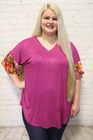 Everlasting Love Floral Accented Top in Magenta - Sizes 4-20