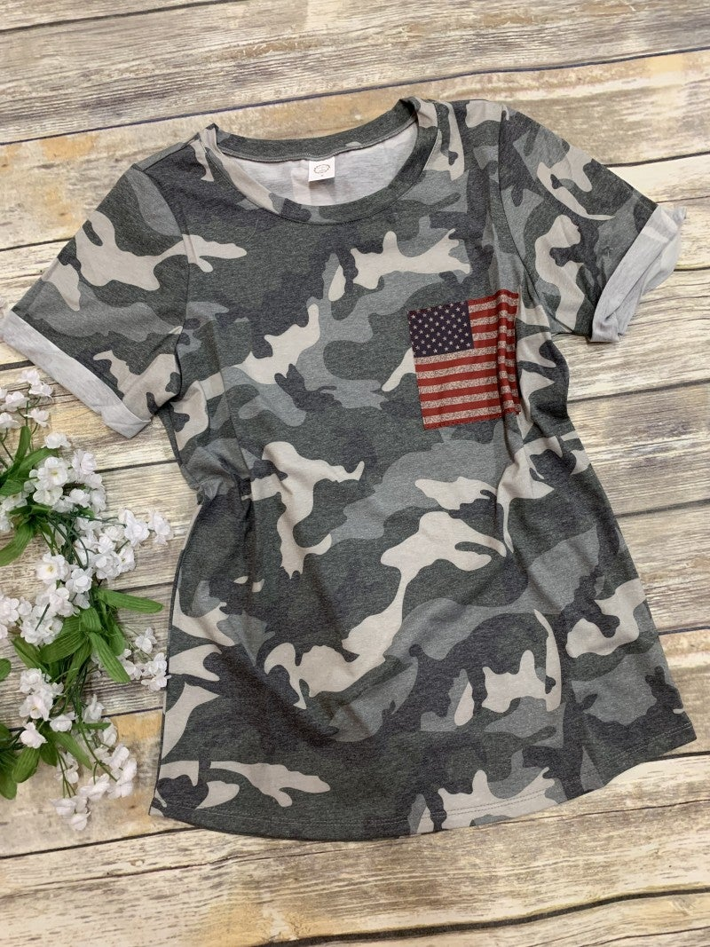 Be A Hero Camo Tee With Flag Detail- Sizes 4-20