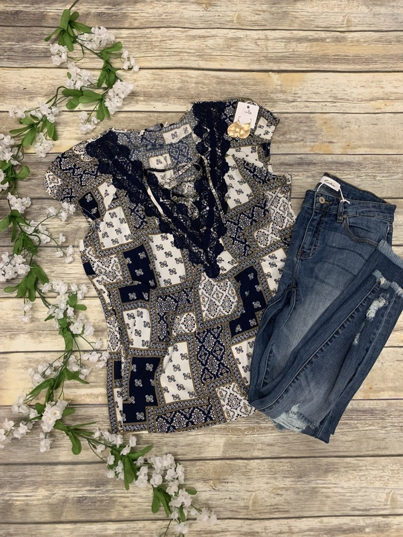 Put It All On Me Paisley Print Top With Crochet Accent In Navy - Sizes 12-20