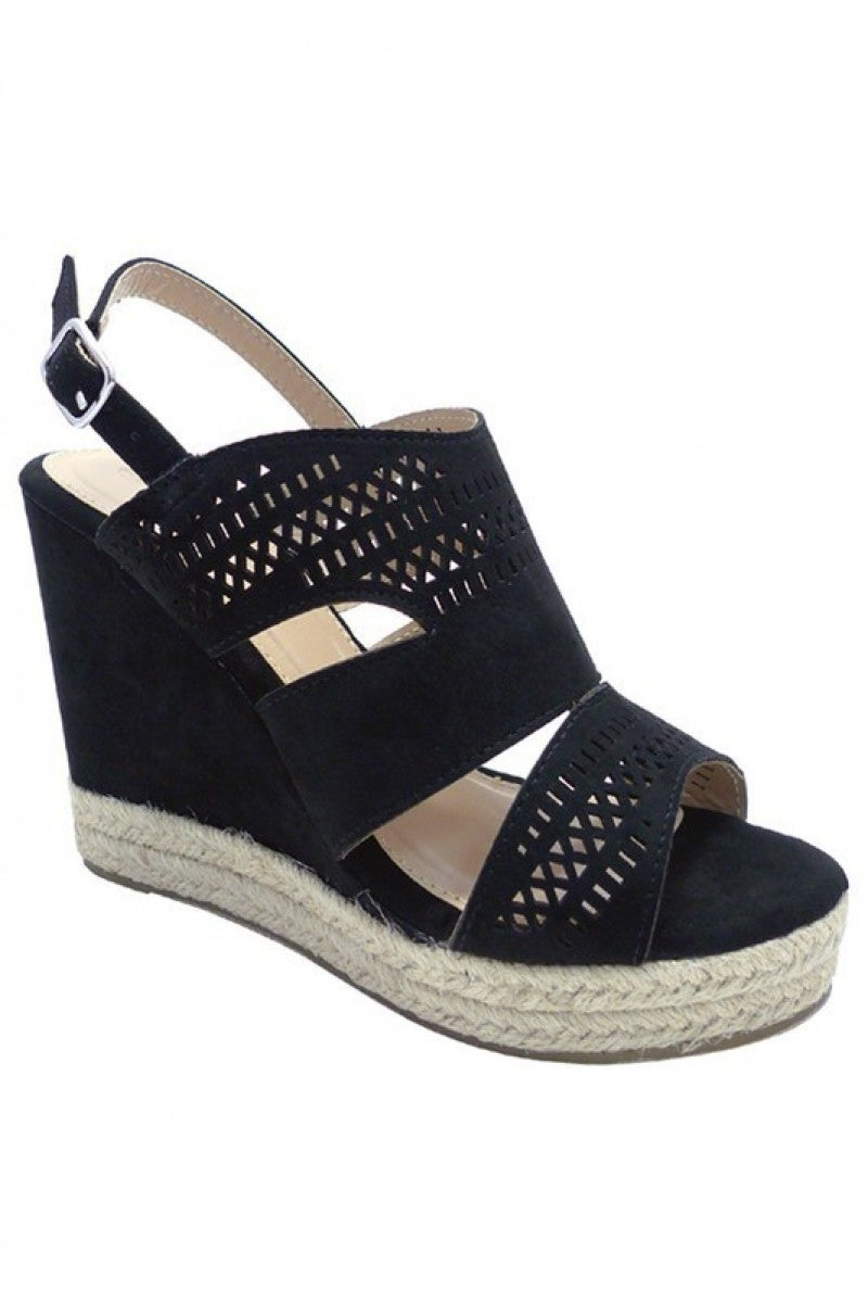 One Step Higher Black Platform Wedges