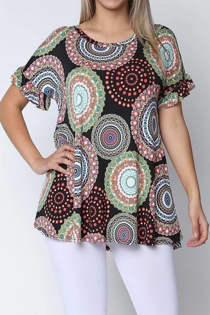 Life's A Party Circle Print Top In Black- Sizes 4-10