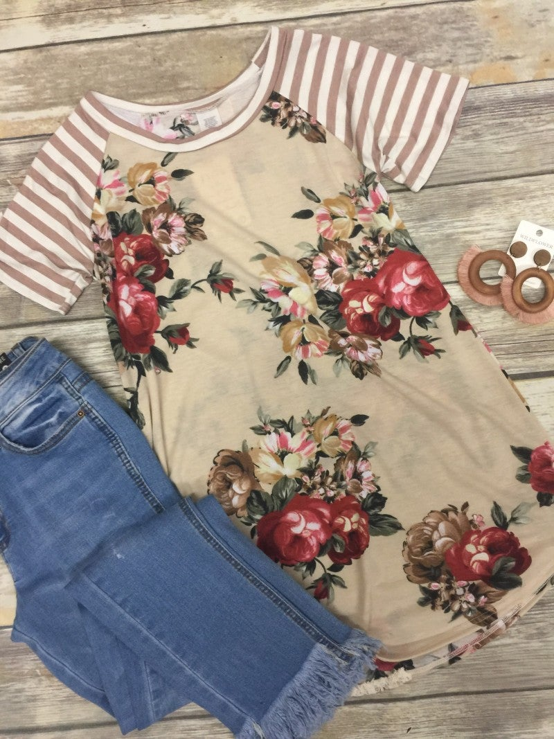 Little Daring Floral & Striped Raglan Top - Sizes 4-20