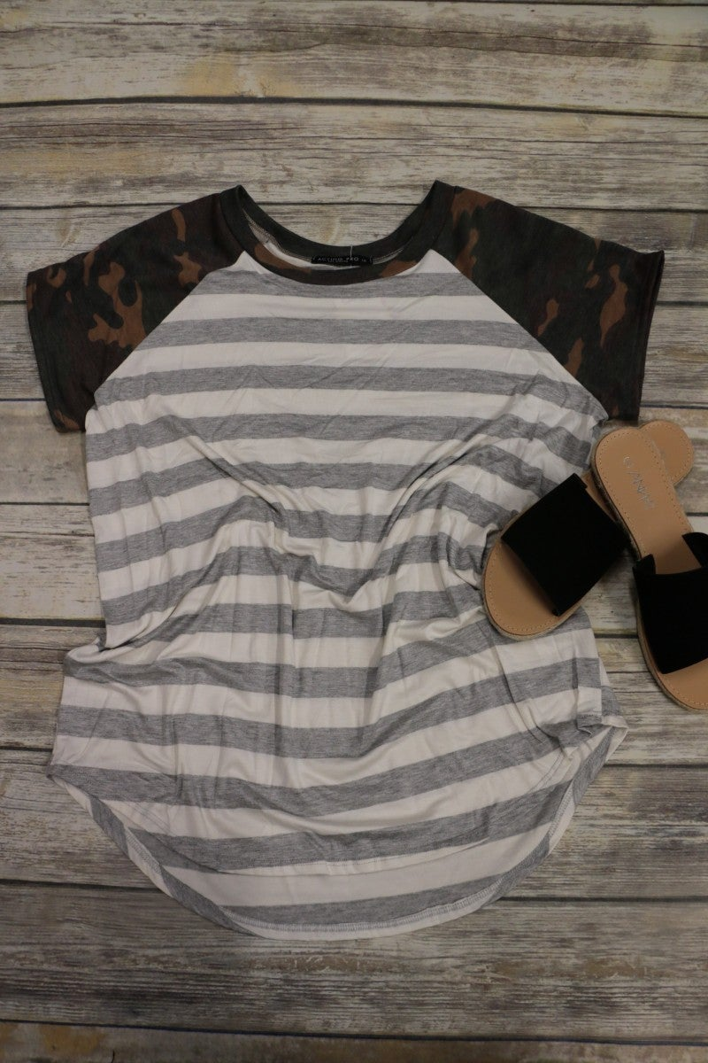 It's My Time Camo And Striped Raglan In Gray Sizes 12-20