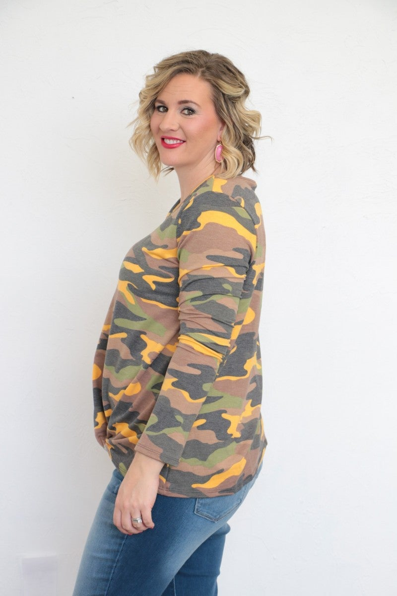 Life Is Short Long Sleeve Camo Top With Mustard Accent - Sizes 4-20