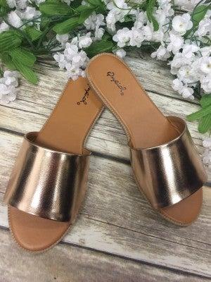Living My Best Life Rose Gold Slide-On Sandals