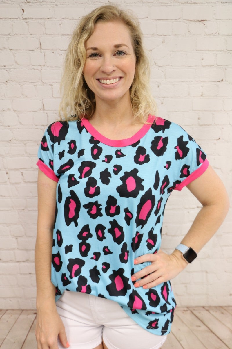 Turquoise & Hot Pink Leopard Print Top - Sizes 4-20