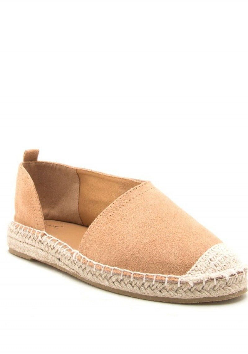 The Taylor Espadrille Open Side Flats - Toffee