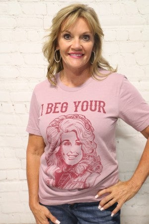 ***PRE-ORDER*** I Beg Your Parton Graphic Tee in Heather Orchid ~ Sizes 4-20