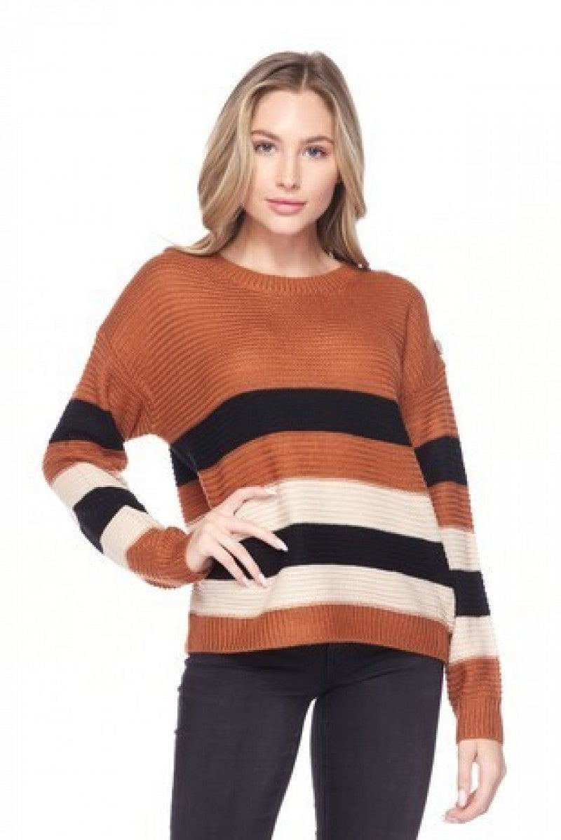 Why Don't You Do Something Striped Sweater With Button Detail In Copper - Sizes 4-10