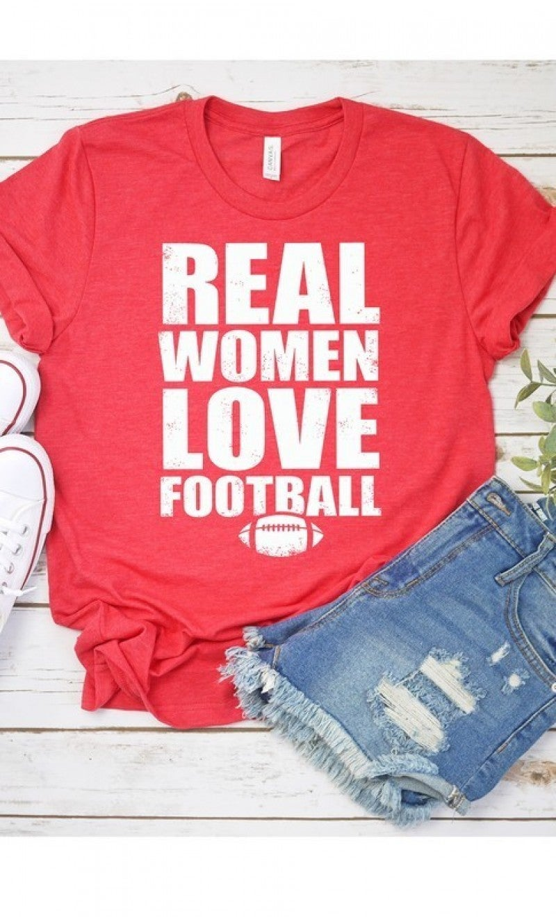 Real Women Love Football Graphic Tee - Sizes 4-14