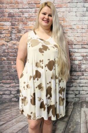 Just Enough Cow Print V Neck Tank Dress- Sizes 12-20