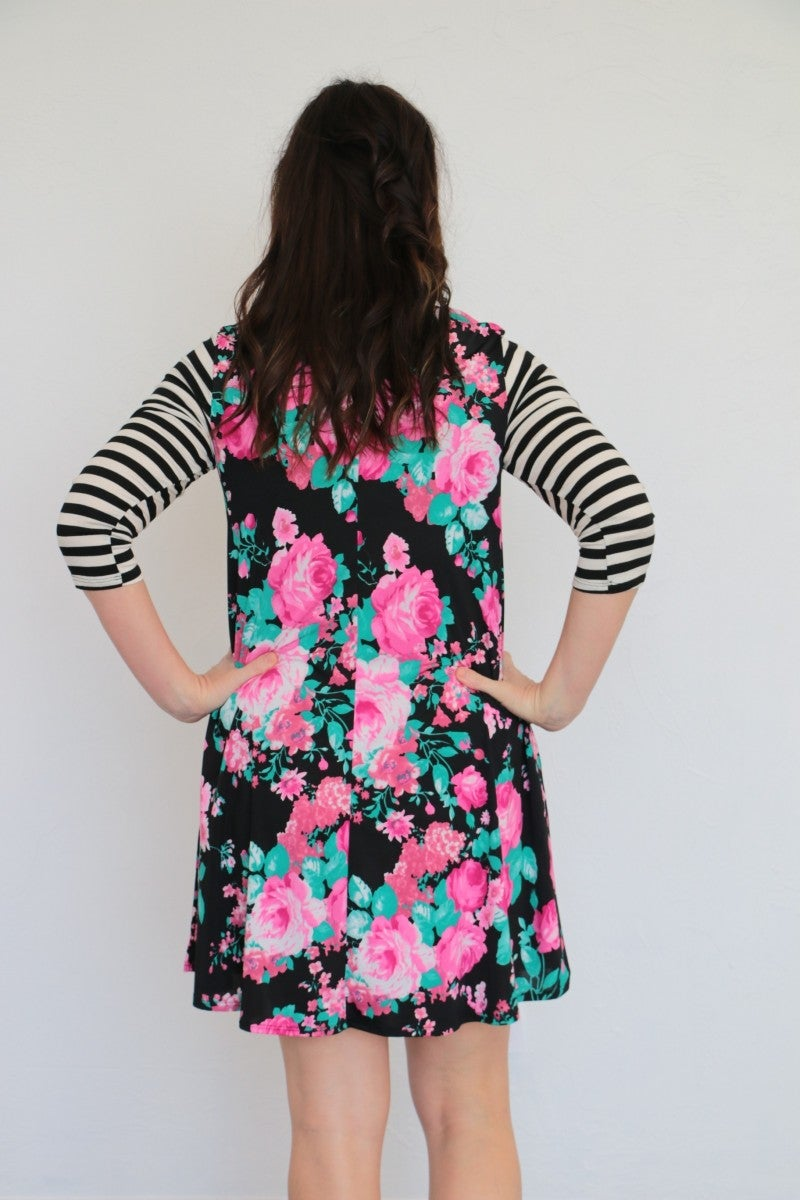 Here We Go Again Floral & Striped Contrast Dress In Black - Sizes 4-10