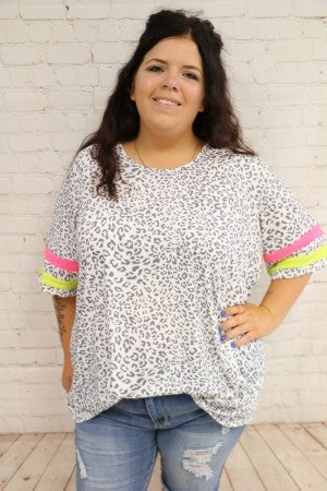 Snow Leopard Top with Neon Striped Sleeves - Sizes 4-20