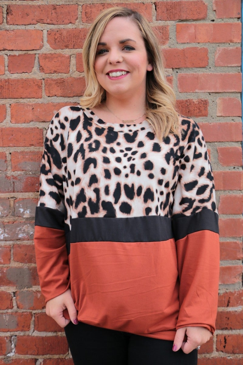 Brought To You By Leopard and Contrast Top In Rust - Sizes 4-10