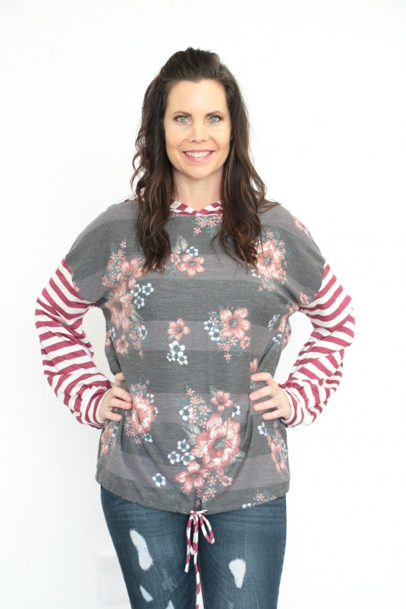 Pretty Woman Floral & Striped Contrast Lightweight Hoodie In Burgundy - Sizes 4-12