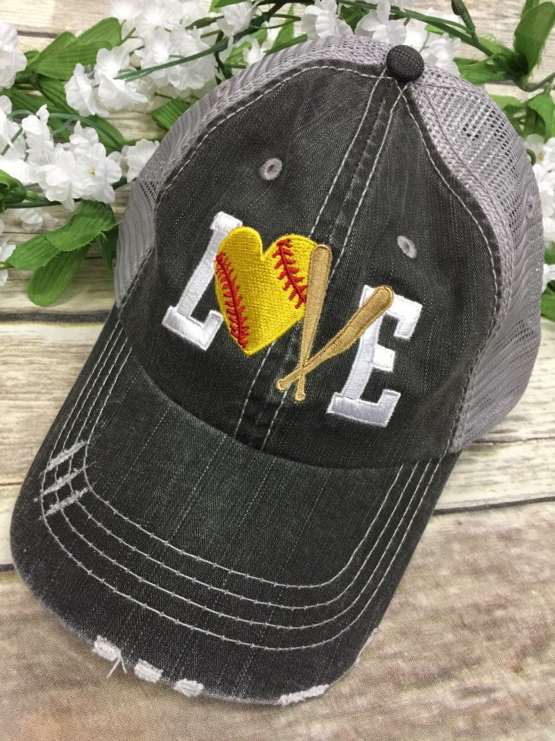 Love Softball/Baseball Distressed Ball Cap With Mesh Back