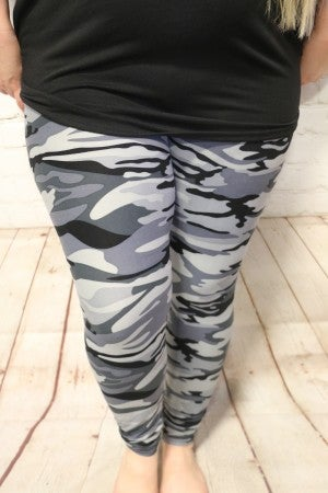 The Night is Yours Gray Camo Leggings - Sizes 20-30