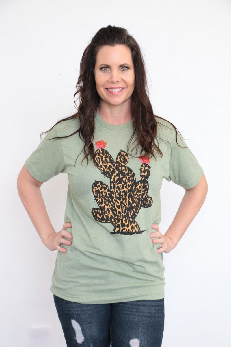Leopard Cactus Tee in Sage - Sizes 4-20