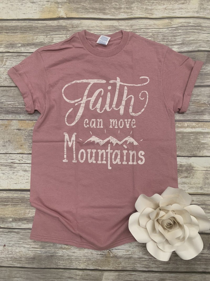 Faith Can Move Mountains Graphic Tee in Mauve - Sizes 4-20