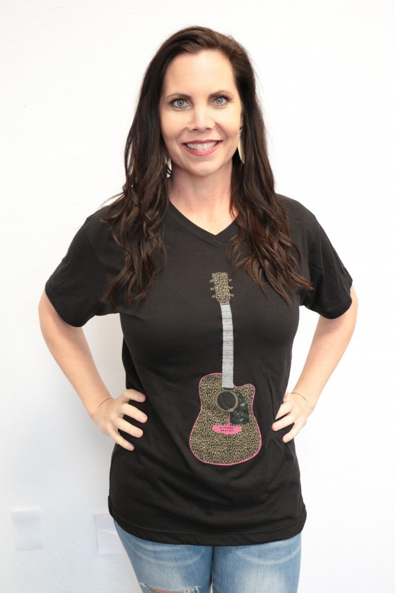 Dance Your Dance Guitar Graphic Tee In Black - Sizes 4-18