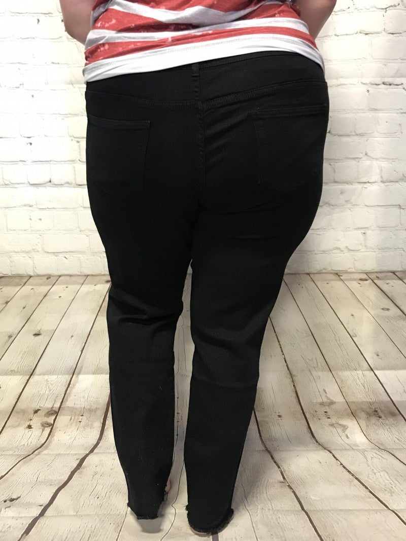 The Barb Black Distressed Skinny Jean with Raw Hem - Sizes 14-24
