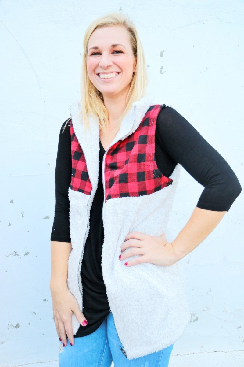 Unforgettable Buffalo Check Sherpa Vest