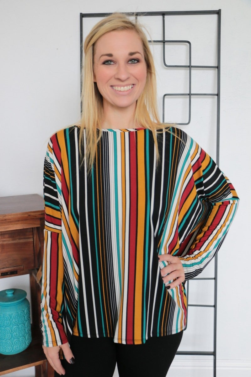 Sock It To Me Striped Piko Style Top In Multicolor - Sizes 4-10
